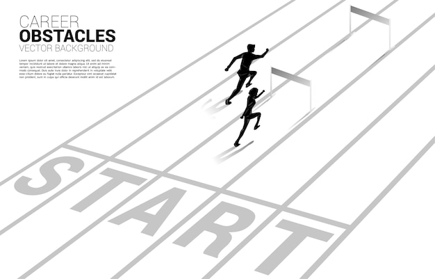 ハードル障害物で走っているビジネスマンのシルエットレース。