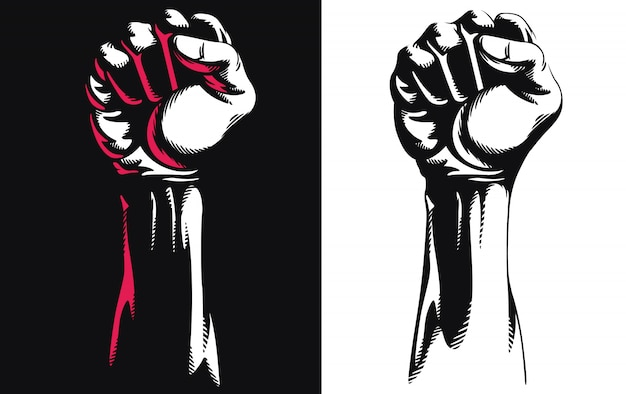 Silhouette raised fist hand clenched protest punch   icon logo illustration isolated on white background
