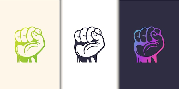Silhouette raised fist hand clenched protest punch. logo template collection