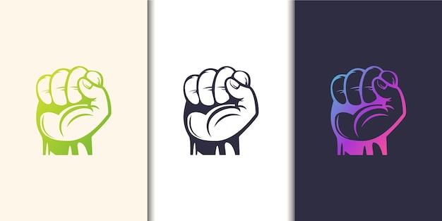 Силуэт поднял кулак, рука сжала протестный удар. коллекция шаблонов логотипов