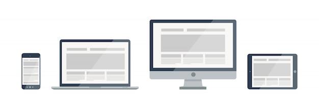 Силуэт отзывчивый веб-дизайн иллюстрации. иконки и комбинации современных электронных устройств.