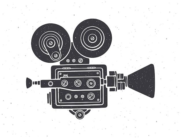Silhouette of retro cinema camera vector illustration old fashioned movie camera