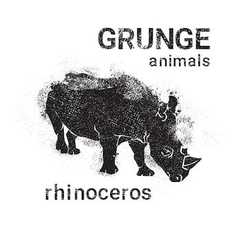 그런 지 디자인 스타일 동물 아이콘 실루엣 코뿔소