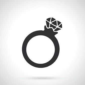 Silhouette of ring with a diamond template or pattern vector illustration