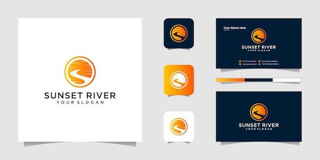 Силуэт реки ручей логотип и бизнес шаблон