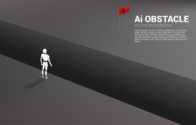 Silhouette of robot standing at abyss looking to goal.