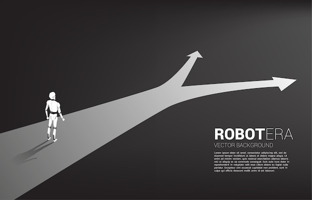 Silhouette of robot standing at crossroad.