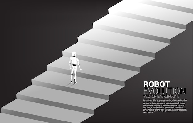 Silhouette of robot standing on stair step. concept of artificial intelligence and machine learning worker technology
