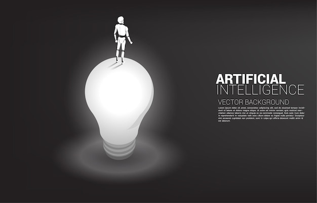 Silhouette of robot standing on top of light bulb. concept of artificial intelligence investment.