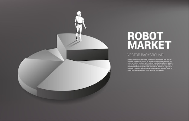 Silhouette of robot standing on top of pie chart.