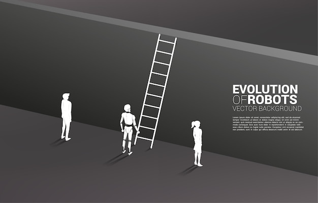 Silhouette robot standing with with ladder to climb to wall and businesswoman and businessman.
