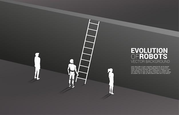 Робот силуэта, стоящий с лестницей, чтобы подняться к стене и коммерсантке и бизнесмену.