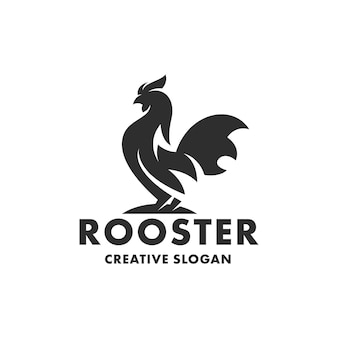 Silhouette of rooster chicken isolated logo template