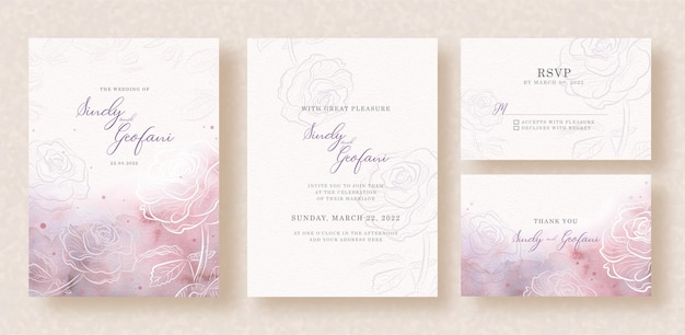 Silhouette roses with mixed splash colors on wedding invitation background