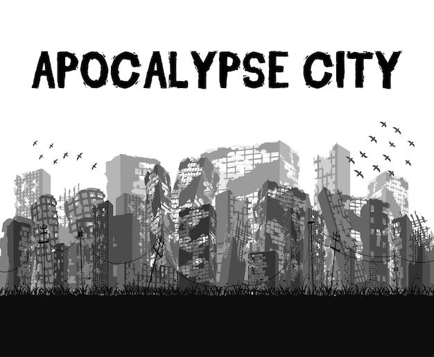 Silhouette ruined apocalypse city building v