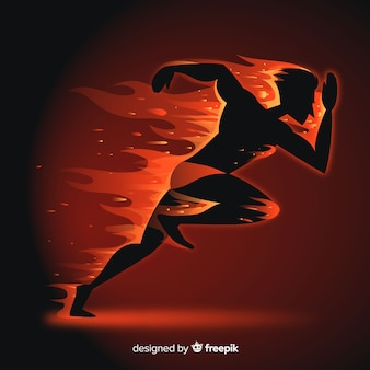 Silhouette of runner in flames