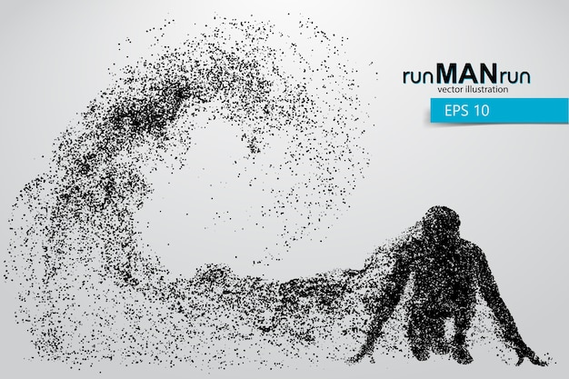 Silhouette of a running man from particles