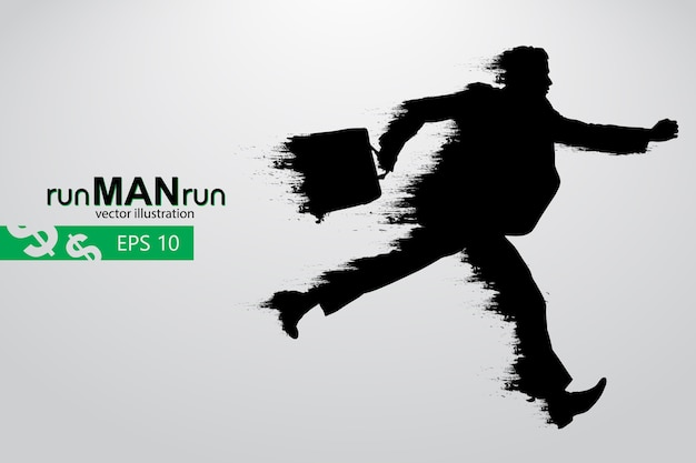 Silhouette of a running man.  illustration
