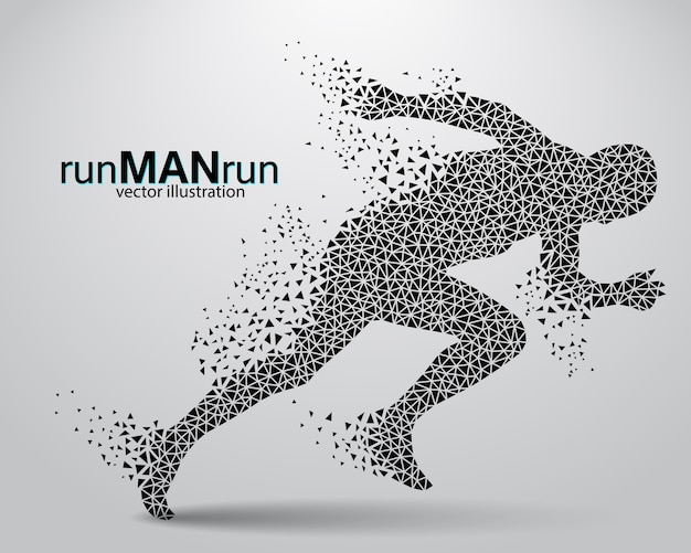 Silhouette of a running man
