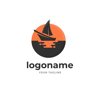 Silhouette sail boat with sun reflection on sea logo gradient style for tourism fishing sport and transportation