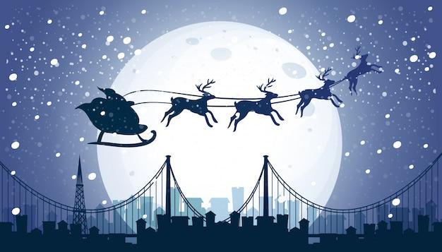 실루엣 산타와 순록 비행 밤하늘