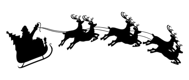 Silhouette of santa claus on sleigh full of gifts and his reindeers. happy new year decoration. merry christmas holiday. new year and xmas celebration.
