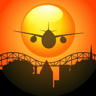 Silhouette scene with airplane flying over bridge