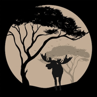 Silhouette scene with moose at fullmoon night