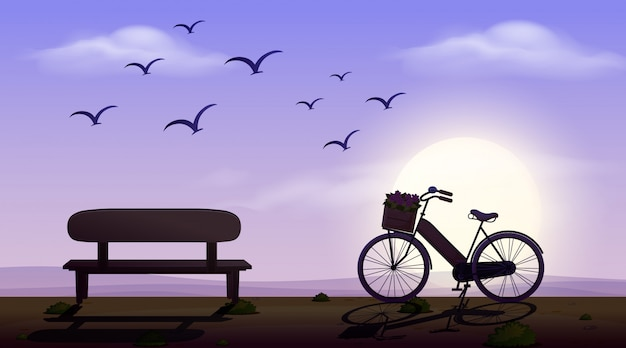 Silhouette scene with seat and bicycle on the road