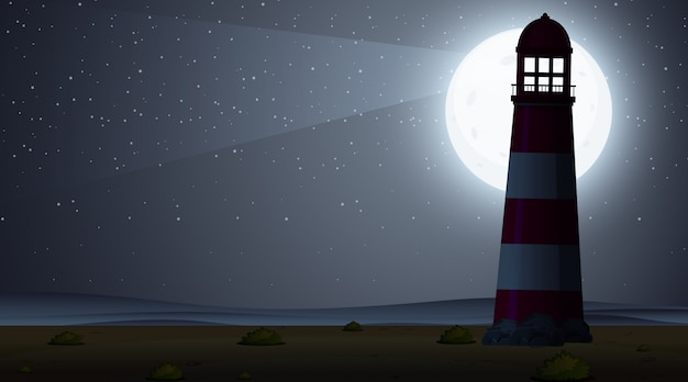 Silhouette scene wtih lighthouse at night time