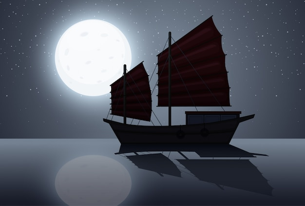 Silhouette scene wtih sailboat at night time