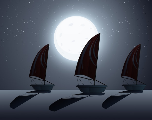 Silhouette scene wtih sailboats at night time