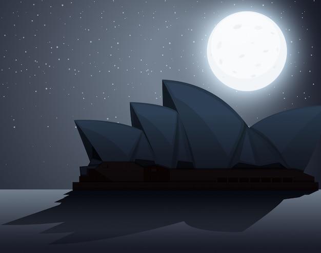 Силуэт сцены с сиднейским оперным театром в ночное время