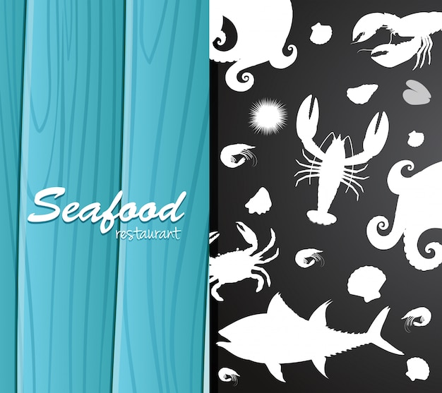 Silhouette seafood on restaurant banner