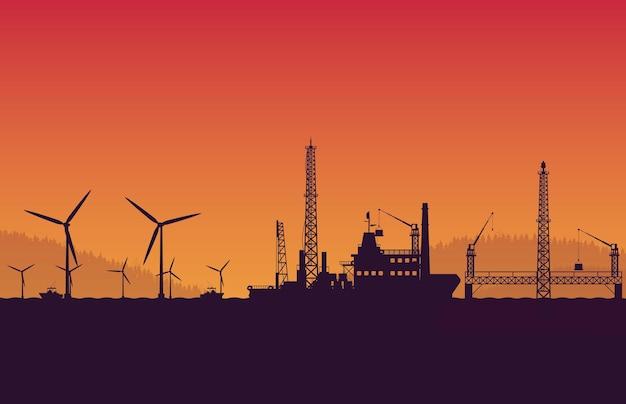 オレンジ色のグラデーションの背景に操作石油プラットフォームとシルエットサービス船船