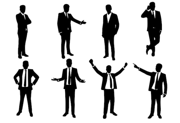 Silhouette set of businessman in action