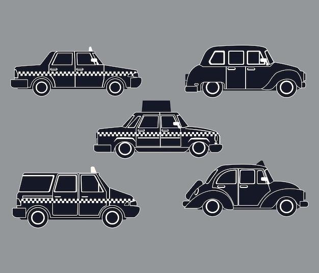 Силуэт набор вид сбоку такси