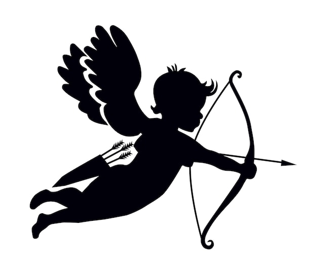Silhouette of a shooting cupid
