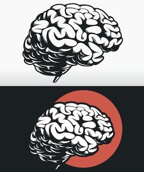 Silhouette side profile brain outline black