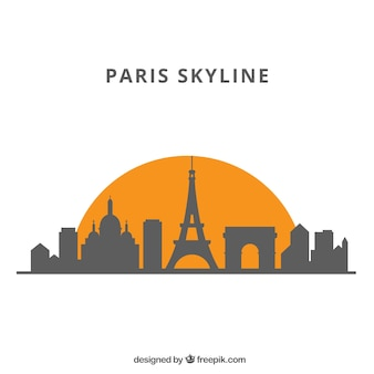 Silhouette skyline background in flat style
