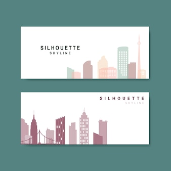 Silhouette skyline illustration collection
