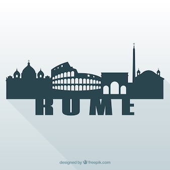 Silhouette of skyline of rome