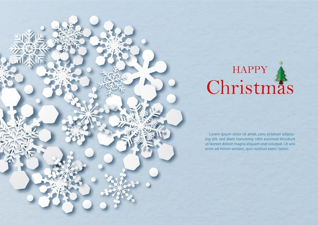 Silhouette snow flakes pattern in a giant circle shape and paper cut style with wording of christmas day, example texts on blue paper pattern background.