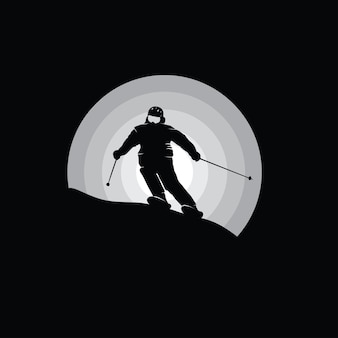 Silhouette of a snowboarder, black and white illustration