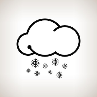 シルエット降雪、明るい背景に雪の雲、黒と白のベクトル図