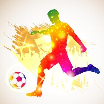 シルエットのサッカー選手とボール。グランジ背景のサッカーファン。モダンで明るく鮮やかな色。ベクトルイラスト