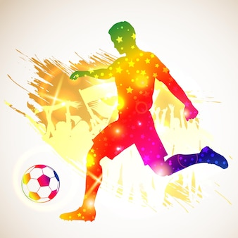 Silhouette soccer football player and ball. soccer fans on grunge background. modern bright vibrant color. vector illustration