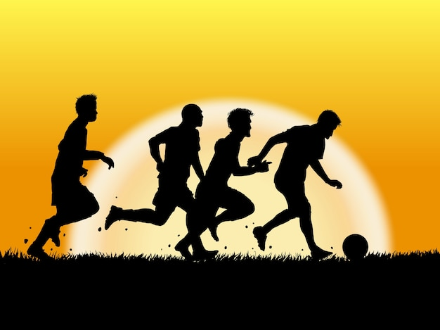 Silhouette of soccer player on sunset background