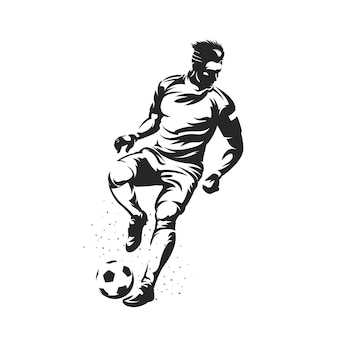 Silhouette soccer players midfielder position with ball
