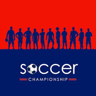 Silhouette of soccer team, vector illustration